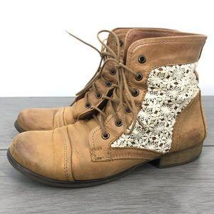 Steve Madden Thunder c cognac crochet leather boot
